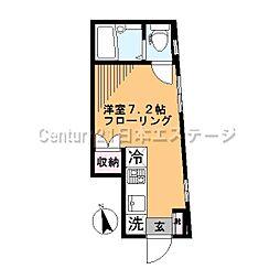 東京都品川区中延5丁目の賃貸アパートの間取り