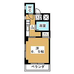 コアロード桜 2階1Kの間取り