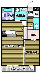 大阪府大阪狭山市半田2丁目の賃貸アパートの間取り