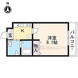 阪急京都本線 西京極駅 徒歩18分の賃貸マンション 3階1Kの間取り