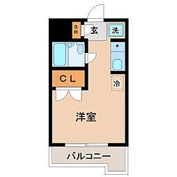 仙台市地下鉄東西線 川内駅 徒歩20分の賃貸マンション 1階ワンルームの間取り