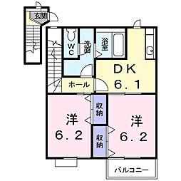 茨城県龍ケ崎市白羽3丁目の賃貸アパートの間取り