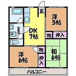 愛媛県松山市桑原7丁目の賃貸マンションの間取り