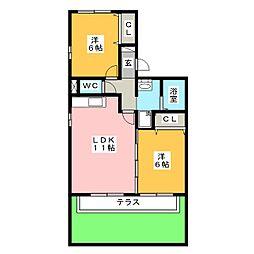 エバーグリーン(福岡町)[1階]の間取り