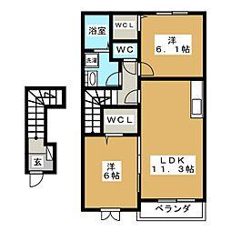 サウスガーデンK[2階]の間取り