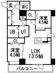 ピュア東彩館II[505号室]の間取り