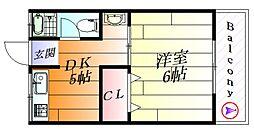 ブルースカイ千里[4階]の間取り