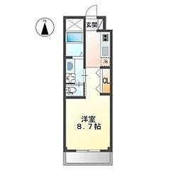 JR信越本線 長野駅 徒歩9分の賃貸マンション 2階1Kの間取り