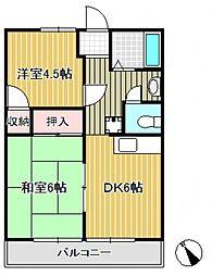 ハイツイグレックB棟[1階]の間取り