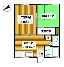 神奈川県横浜市西区浅間町3丁目の賃貸アパートの間取り