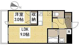 JR山陽本線 福山駅 徒歩21分の賃貸マンション 3階1LDKの間取り