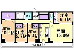 スペチアーレ伏見WEST 10階4LDKの間取り
