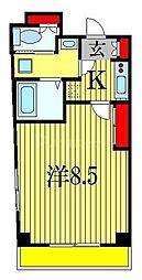 JR総武線 船橋駅 徒歩10分の賃貸マンション 5階1Kの間取り