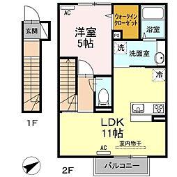 福岡県北九州市小倉北区三萩野1丁目の賃貸アパートの間取り