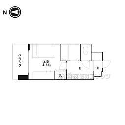 京都市営烏丸線 くいな橋駅 徒歩5分の賃貸マンション 4階ワンルームの間取り