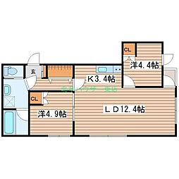 LUCY HOUSE ルーシーハウス 4階2LDKの間取り