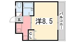 兵庫県姫路市西庄字町田の賃貸アパートの間取り