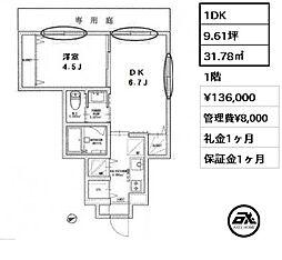 FAIR四谷須賀町 3階1Kの間取り