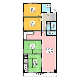 東山スカイマンション[2階]の間取り