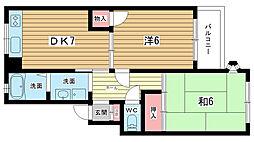 ベルヴュー中桜塚[202号室]の間取り