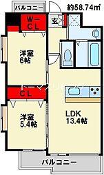 (仮称)中井5丁目賃貸マンション 8階2LDKの間取り