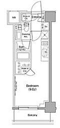 ザ・パークハビオ西大井 4階ワンルームの間取り