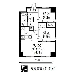 愛知県名古屋市昭和区阿由知通1丁目の賃貸マンションの間取り