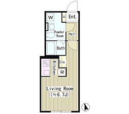 JR山手線 恵比寿駅 徒歩13分の賃貸マンション 4階1Kの間取り