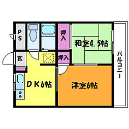 タクティ三津屋[4階]の間取り