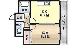 ラピタ 4階1DKの間取り