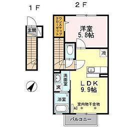 青森県八戸市長根2丁目の賃貸アパートの間取り