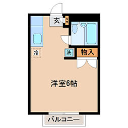 タウンハウスM 2階ワンルームの間取り