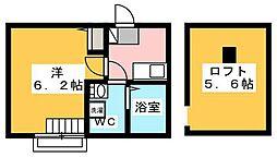 小田急小田原線 生田駅 徒歩8分の賃貸アパート 2階1Kの間取り
