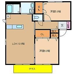 シャーメゾン光明池B棟[2階]の間取り