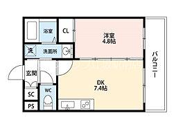 JR東海道・山陽本線 吹田駅 徒歩7分の賃貸マンション 4階1DKの間取り