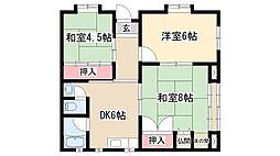 愛知県名古屋市天白区平針5丁目の賃貸マンションの間取り