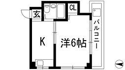 大阪府箕面市半町4丁目の賃貸マンションの間取り