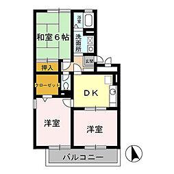 千葉県千葉市緑区あすみが丘5の賃貸アパートの間取り