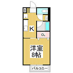 JR飯田線 宮木駅 徒歩25分の賃貸アパート 2階1Kの間取り