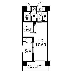名古屋市営鶴舞線 鶴舞駅 徒歩9分の賃貸マンション 2階1LDKの間取り