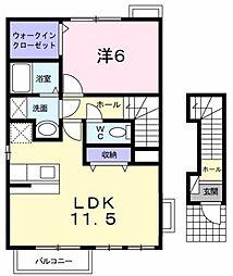 神奈川県厚木市下依知3丁目の賃貸アパートの間取り