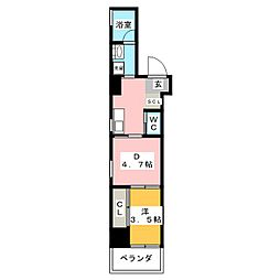 AZUR YABACHO 3階1DKの間取り