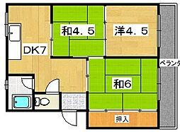 大阪府枚方市東香里新町の賃貸マンションの間取り