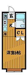 東京都国分寺市本多の賃貸アパートの間取り