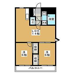 福岡県福岡市東区水谷3丁目の賃貸マンションの間取り