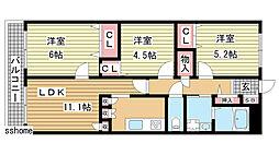 六甲桜丘ハイツ[206号室]の間取り