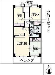 藤マンションII[6階]の間取り