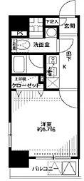 JR山手線 東京駅 徒歩8分の賃貸マンション 13階1Kの間取り