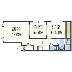 北海道札幌市東区東苗穂三条1丁目の賃貸アパートの間取り
