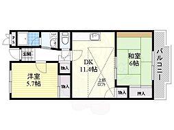阪急千里線 山田駅 徒歩8分の賃貸マンション 2階2LDKの間取り